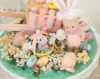 Easter Spring Kewpie Doll Cloche Dome Large Centerpiece One-of-a-Kind Doll