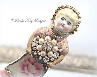 Rosebud Doll Brooch Ornament Broken China Art Doll Flowers Mixed Media Soldered Rhinestone Girl Broach