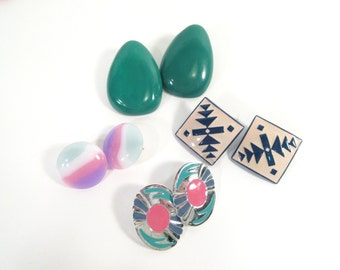 Vintage 80's pierced earrings, southwest, 80's fashion, set of 4, instant collection, earring lot, post earrings, southwestern, teal, pastel