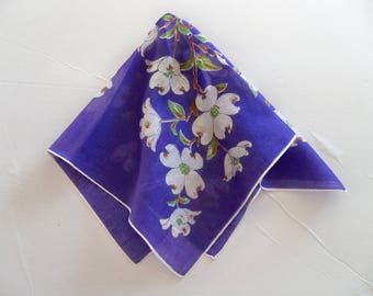 Vintage Spring Floral Handkerchief - White Dogwood on Purple Background