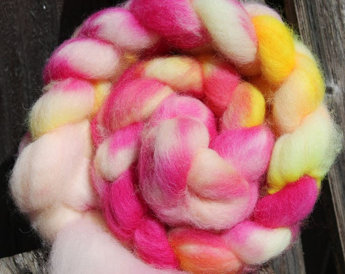Kettle Dyed Cheviot Wool Top.  Easy to spin. 4oz  Braid. Spin. Felt. Roving. C88