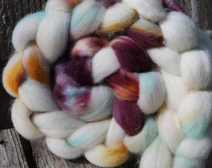Kettle Dyed Falkland Wool Top.  Soft and easy to spin. 4oz  Braid. Spin. Felt. Roving. F151