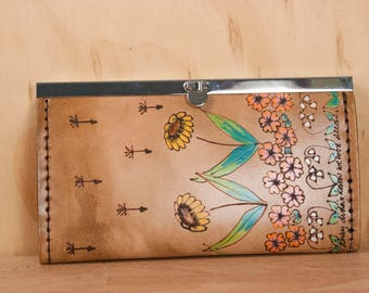 Leather Checkbook Wallet -  Clutch Wallet - Womens wallet in the Seeds Pattern with flower garden and dandelion seeds - Antique Brown