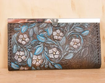 Leather Checkbook Wallet -  Clutch Wallet - Womens wallet in the  Pressed pattern with Tooled Leather flowers - Turquoise and Antique Black