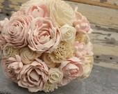 Blush wedding bouquet, brides pink sola flower bouquet, sola wood wedding flowers, blush wooden flower bouquet, eco flowers, paper flower