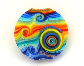 Michal S- Glass Art Rainbow Lampwork lentil focal bead