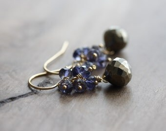 Small gemstone cluster earrings - pyrite & iolite - 14k gold filled