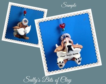 Basset  Hound Angel Dog light red and white Christmas Bone Ornament Sally's Bits of Clay PERSONALIZED FREE with dog's name