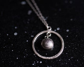 Gibeon Meteorite Orbit Necklace - Sterling Silver and Authentic Meteorite - Unique Outer Space Jewellery, Galaxy Gift for Mother's Day