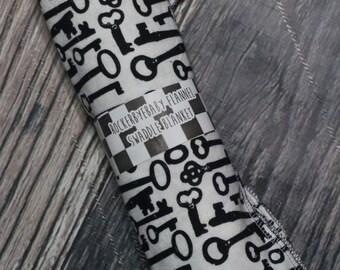 RockerByeBasics Large Newborn baby Swaddle Blanket 36x42 black and white skeleton keys girl boy unisex