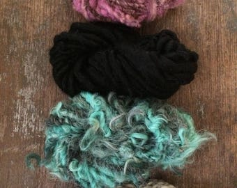 Four mini skeins, pink and teal, handspun miniskein texture pack yarn, 40 yards, art yarn set, weaving yarn set, textured yarn, funky yarn