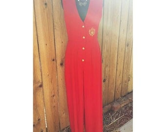 d.Frank Vintage Red Jumpsuit Wide Leg Overalls Size 4 S Small