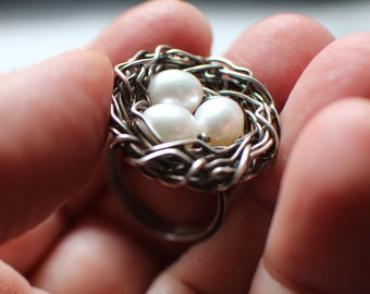 Sterling Silver and Freshwater Pearl Bird's Nest Ring, Whimsical Ring, Oxidized Sterling Silver, Three Pearls, Mother's Day Gift