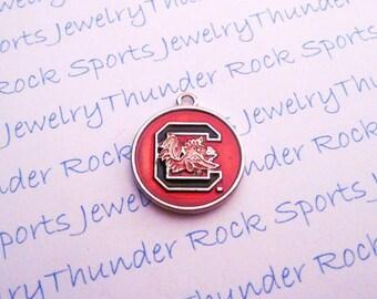3 South CAROLINA GAMECOCKS Charms, round, Antique Silver, red enamel, University logo, COLLEGE Pendants