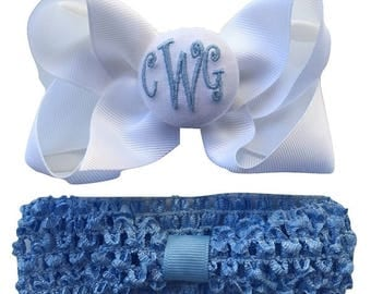 French Blue Monogrammed Hair Bow and Headband
