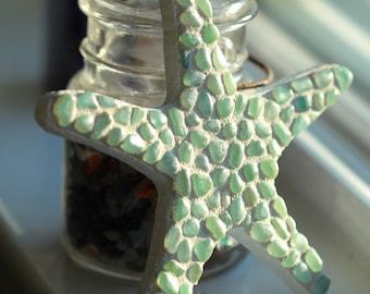 Sea glass starfish Mosaic - Starfish Decor - Beach Mosaic - Starfish gift - Sea glass starfish - Teacher gift - Gift for mom - Coastal decor