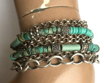 Necklace Wrap Bracelet Sterling Silver Turquoise Bead Multichain Bali Bead Rolo Chain Adjustable Length Boho One of a Kind