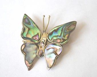 Butterfly Brooch, ALPACA Pin, Abalone Brooch, Mexico Silver Brooch, Mother of Pearl Brooch, 1970's Butterly Brooch, Alpaca Abalone Pin