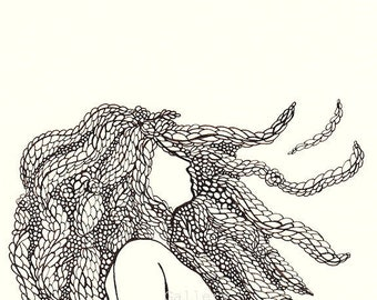 art female figure, original pen illustration, 8 x 10