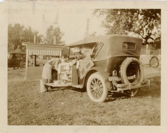 vintage photo 1925 Glamping Car as Camper RARE Travel Picnic Fold Out Kitchen early VW Bus
