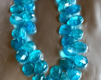 Teal Neon Blue Apatite Pears natural gemstones faceted