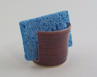Sponge Holder - Ceramic Sponge Dryer Bowl - Speckle Plum Purple - Handmade Stoneware Pottery - Kitchen Essential - Ready to Ship h454