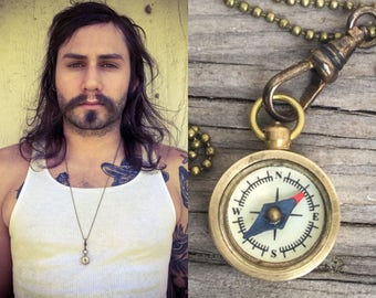 working Compass Necklace w bronze ball chain *BULK OPTIONS*  wholesale compass lots- antiqued brass hipster Dudes unisex jewelry t52
