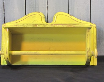 Wooden Towel Holder with Shelf Vintage Yellow Distressed Kitchen Decor Farmhouse Cottage