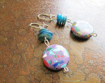 Splatter Glass Beaded Dangle earrings