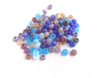 Sea Glass Beach Colors 10/0 Czech Seed Beads Ghost matte ab