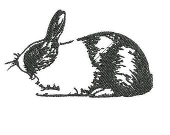 Dutch Bunny Rabbit Digitized Embroidery File for Embroidery Machine PES, EXP, HUS Blackwork