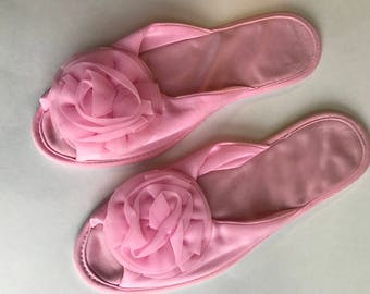 Vintage Pink Scuff Slippers • Nylon Slippers • Kayser Slippers Medium Size 7-8  • Boudoir Scuffs • Open Toe Slipper
