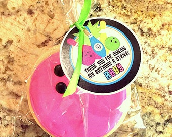 GLOW Bowling Favor Tags or Stickers / Bowling Birthday Party Favor Tags for Night Bowling / Neon Colors / Includes Name and Age / Set of 12