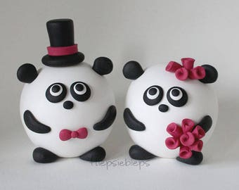 Custom Round Panda Wedding Cake Topper