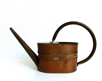 """Old Vintage Brass Copper Watering Can, Straight Spout and Round Handle 6"""" tall, Boho Home Decor, IndoorGardening Plant Care"""