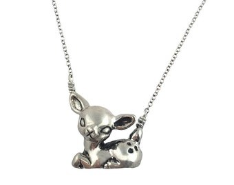 Deer Necklace        fawn bambi silver gold kids jewelry tiny sitting