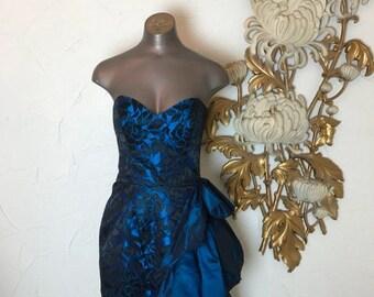 1980s dress prom dress strapless dress size x small vintage dress asymmetrical dress blue dress