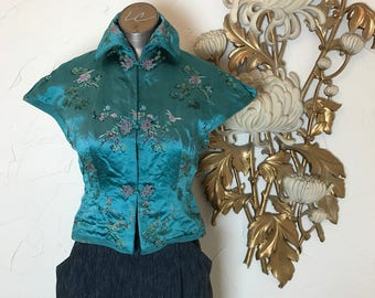 1940s blouse asian blouse silk blouse fitted blouse size small 34 bust vintage blouse 40s shirt