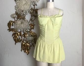 1940s swimsuit vintage bathing suit size large 38 bust 40 bust rose marie reid pin up swimsuit yellow swimsuit