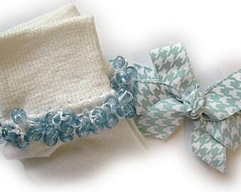 Kathy's Beaded Socks - Blue Glitter Houndstooth Socks and Hairbow, school socks, pony bead socks, light blue glitter pony beads