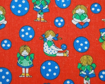 VINTAGE 70s FABRIC novelty little girl fabric print cotton muslin weave
