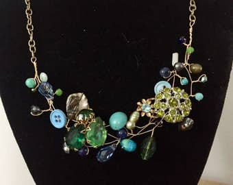 Vintage Blue and Green Brooch Rinestone Vintage Buttons Steampunk Collage Bib Necklace