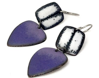Grape Purple Matte Geometic Enamel Earrings black and white titanium earwires hypoallergenic