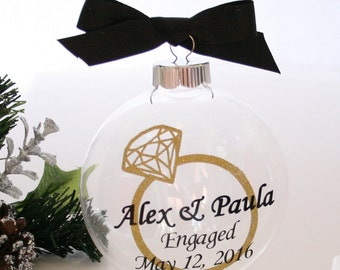 Engaged Christmas Ornament 3 Engagement Ornament