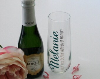 Will You Be My Matron of Honor, Will You Be My Bridesmaid, Bridesmaid Box Gift, Stemless Champagne Glass