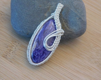 Charoite Pendant Wire Wrapped in Silver Wire Wrapped Jewelry Handmade Amulet Medallion Purple White Cabochon Handmade Pendant