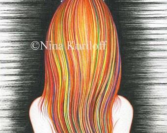 Original Portrait Modern Wall Decor Art Woman Female long hair Colorful Redhead 8 x 10 inches