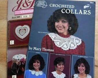 Lot of 2 crochet collars and Victorian Lace motifs booklets Crocheted Collars vintage crochet patterns, pineapple crochet Victorian patterns