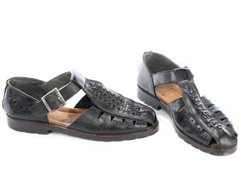 Retro FISHERMAN Sandals for Men 70s Black Leather Wide Fit Huarache Woven Gladiator Vintage Braided Vintage US men 9.5 Uk 9 Eur 43.5