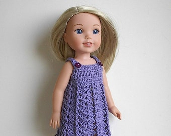 "14.5"" Doll Clothes Crocheted Purple Dress Handmade to fit the Wellie Wishers doll and other similar dolls - Purple Dress"